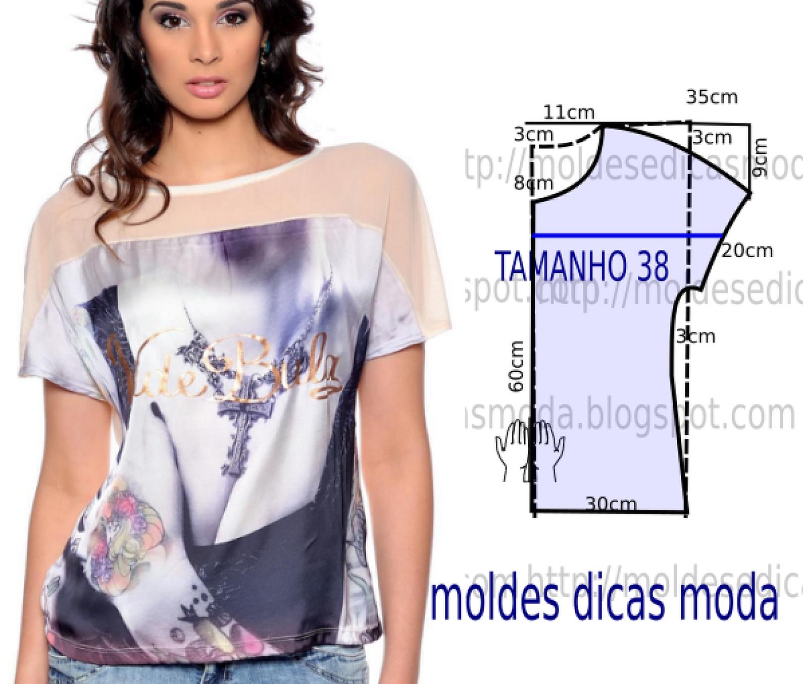 BLUSA EM TULE TRANSPARENTE - Moldes Moda por Medida | Molderia ...