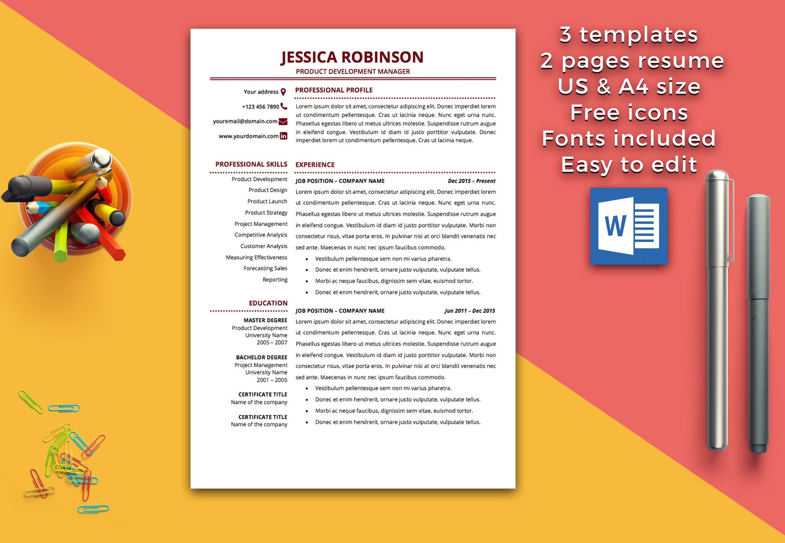 Professional Resume Template Instant Download Modern Resume