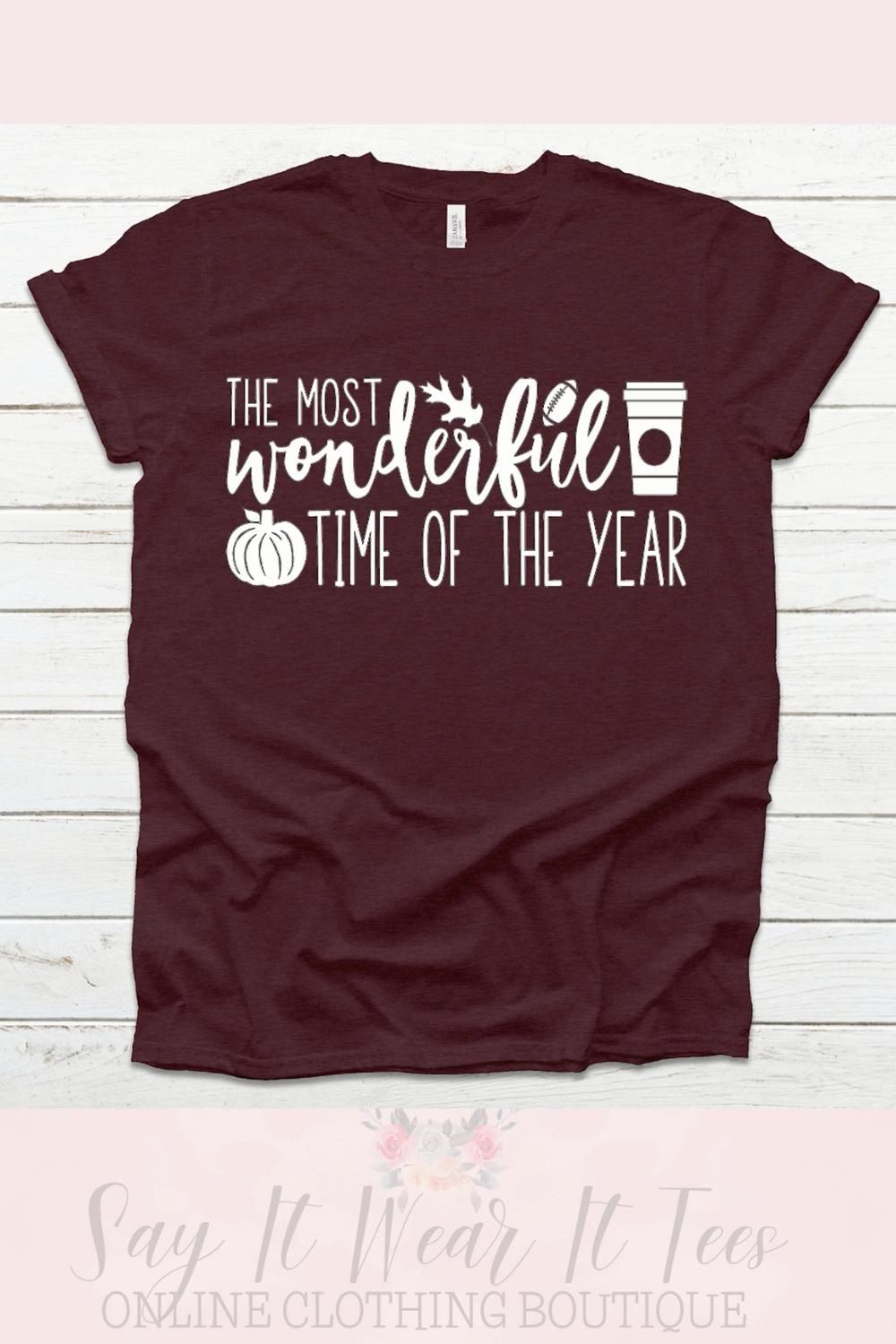 This Most Wonderful Time of the Year Fall Tee is available in five gorgeous fall colors. It's the perfect tshirt for fall to layer with a sweater or flannel. This design features fall favorites such coffee, football, pumpkins, and leaves.   Fall Graphic Tee for Women   #fallfashion #fallgraphictees #fallshirts #fallfashion2020 #mostwonderfultimeoftheyear