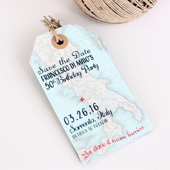 Wedding invitation Italy map Save the Date Luggage Tag Magnet ...