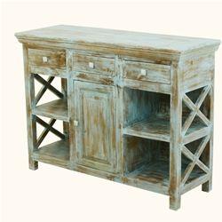 Country Kitchen Mango Wood Open Shelves Buffet Sideboard