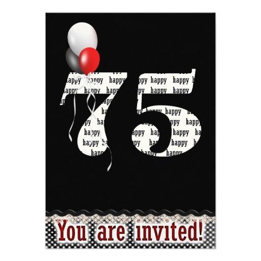75th Birthday Invitation Zazzle