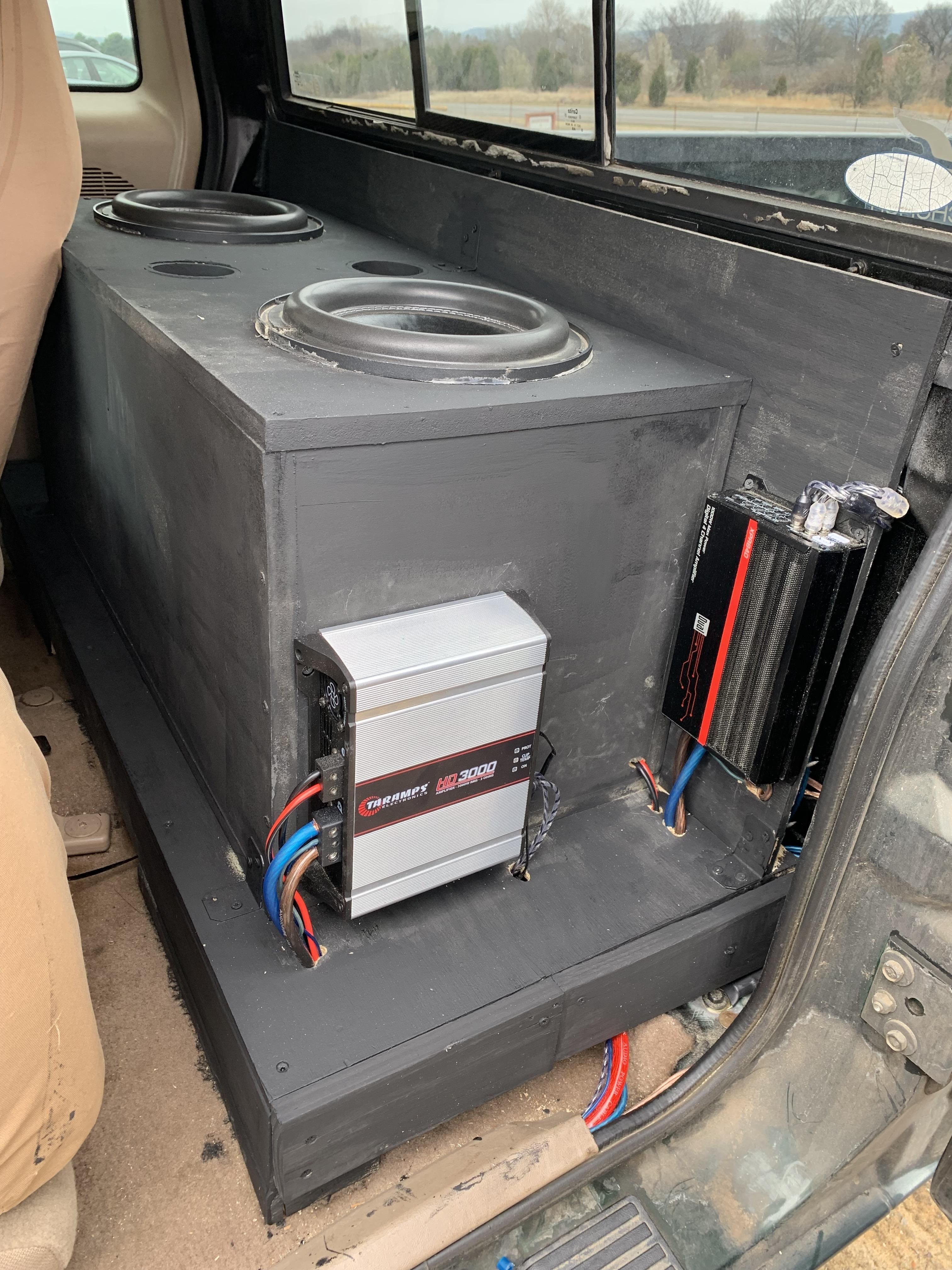 2 American Bass Xfl 10s 4 Nvx Vsp68s Taramps Hd3000 And Dual Xpr84d Box Tuned To Around 32hz All Car Audio Installation Car Audio Battery Car Audio Systems