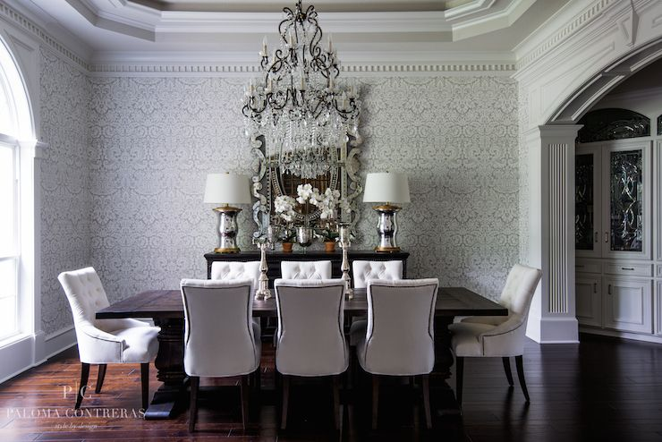 Paloma Contreras   Dining Rooms   Farrow And Ball Silvergate Wallpaper,  Silver Damask Wallpaper