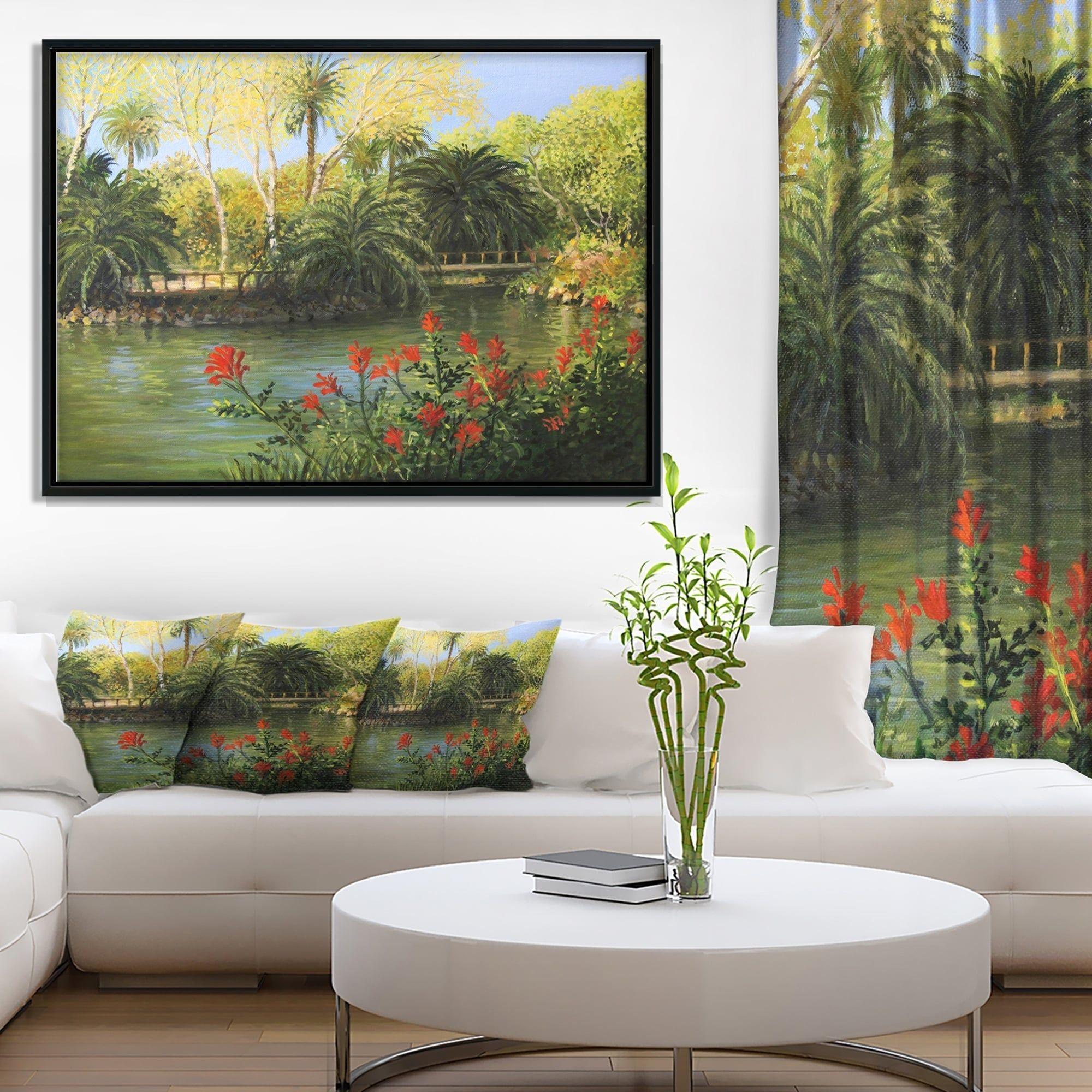 Designart ugarden of edenu landscape framed canvas art print