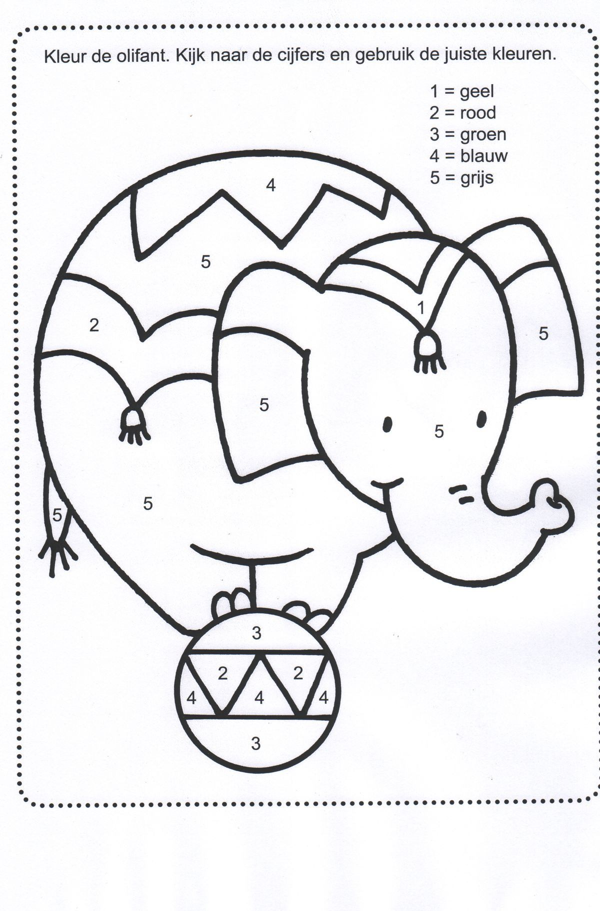 Elephant Color By Number Coloring Pages Coloring Pages
