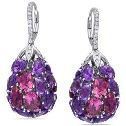 Cheap Miadora 14k Gold Amethyst and 1/3ct TDW Diamond Earrings (G-H SI1) new - These amazing earrings from the Miadora Luxe Collection feature oval-cut pink tourmaline and amethyst stones with round white diamonds set in 14-karat white gold. These one-of-a-kind dangle earrings are secured with leverbacks. Style:...
