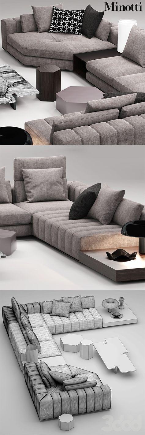 3d модели: Диваны - minotti freeman seating system #homeextensions