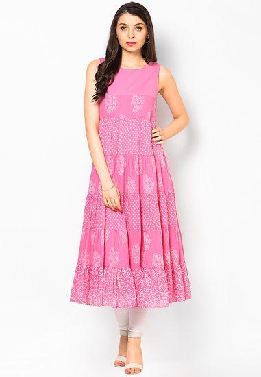 9b0d17cb595 Pink Cotton Blend Kurti - Biba Kurtas   kurtis for women
