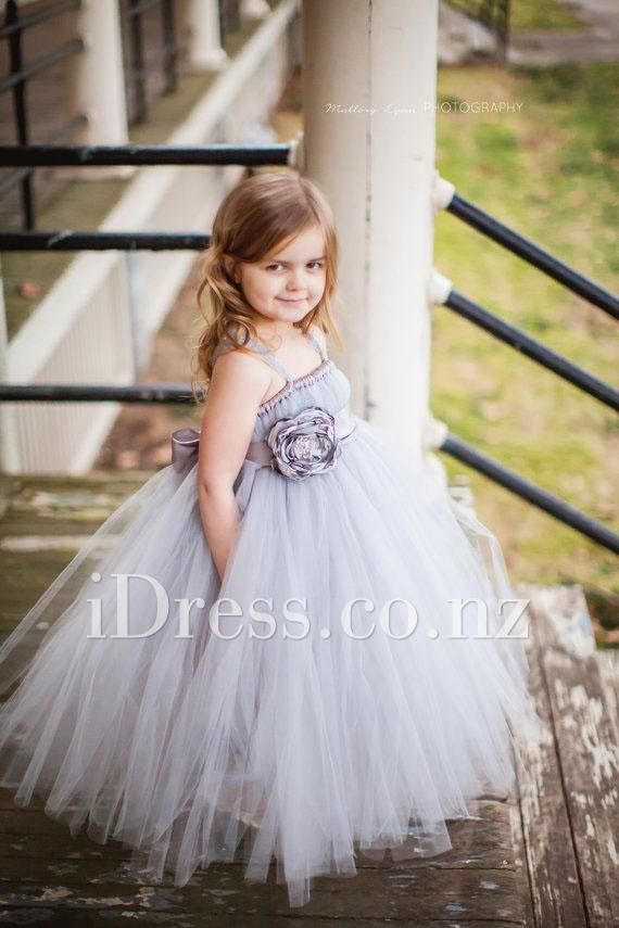 Elegant grey floor length flower girl dress. Sleeveless spaghetti ...