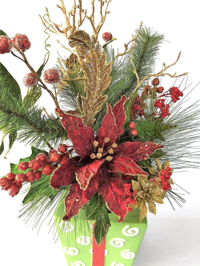 Red and Green Poinsettia Silk Flower Arrangement