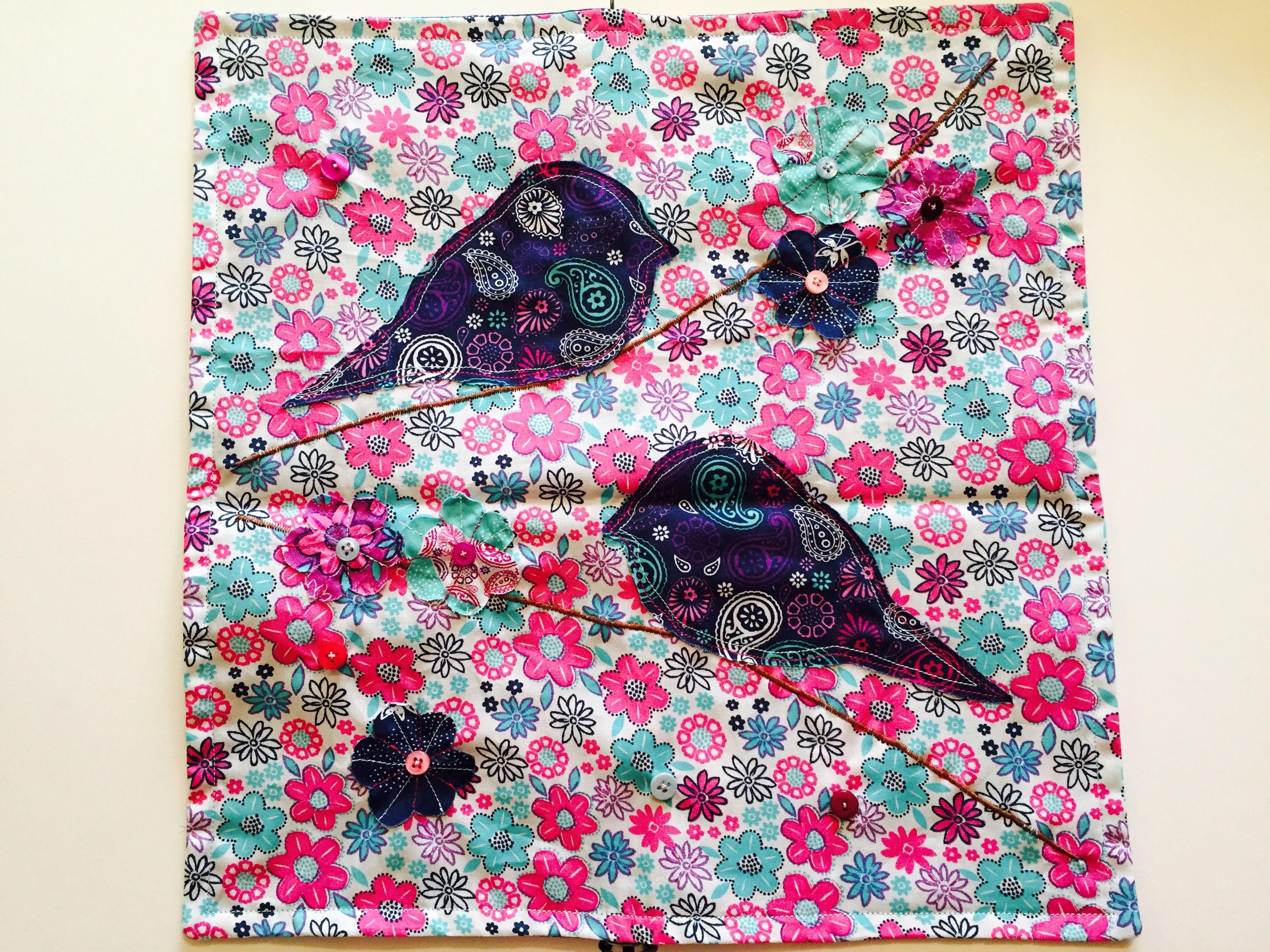 Appliqué bird cushion using The Craft Cotton Company Paisley bird fabrics. Free tutorial