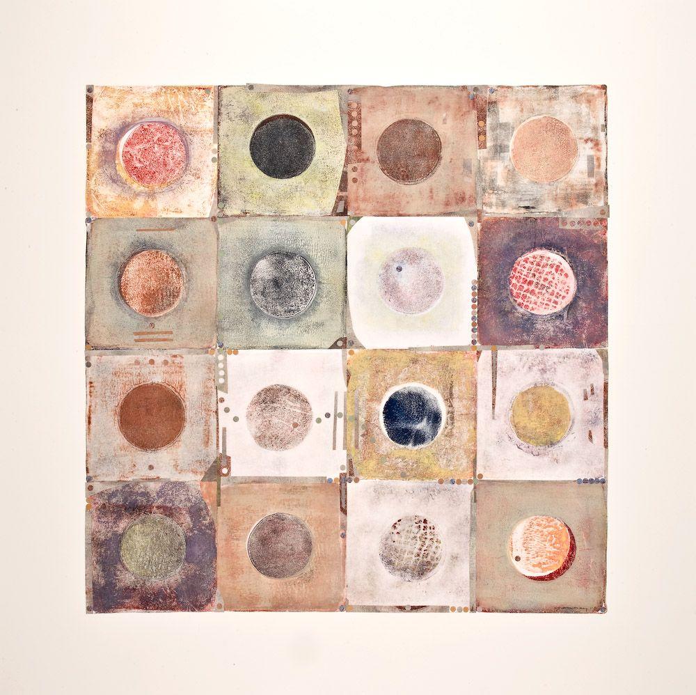 Santa Fe artist Caroline Jennings monoprints. See at Santa Fe Flea Market.