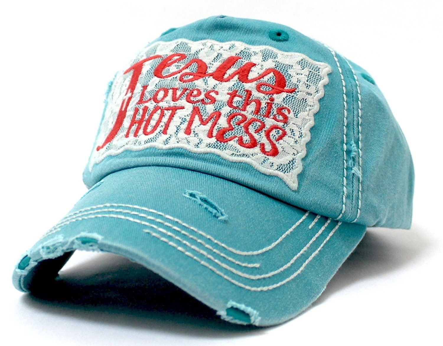 Lace Jesus Loves This Hot Mess Embroidery Patch Vintage Cap Turquoise Cv185d48xck Embroidery Patches Vintage Cap Embroidery Shoes Diy