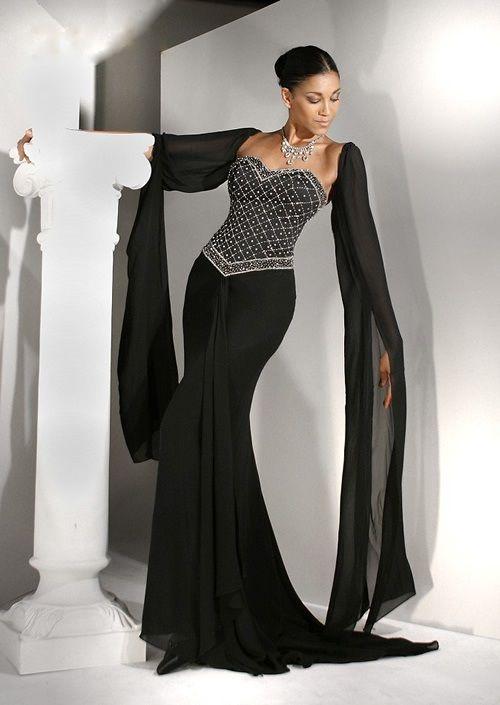 black wedding dresses with sleeves | LB'W'D | Pinterest | Sleeve ...