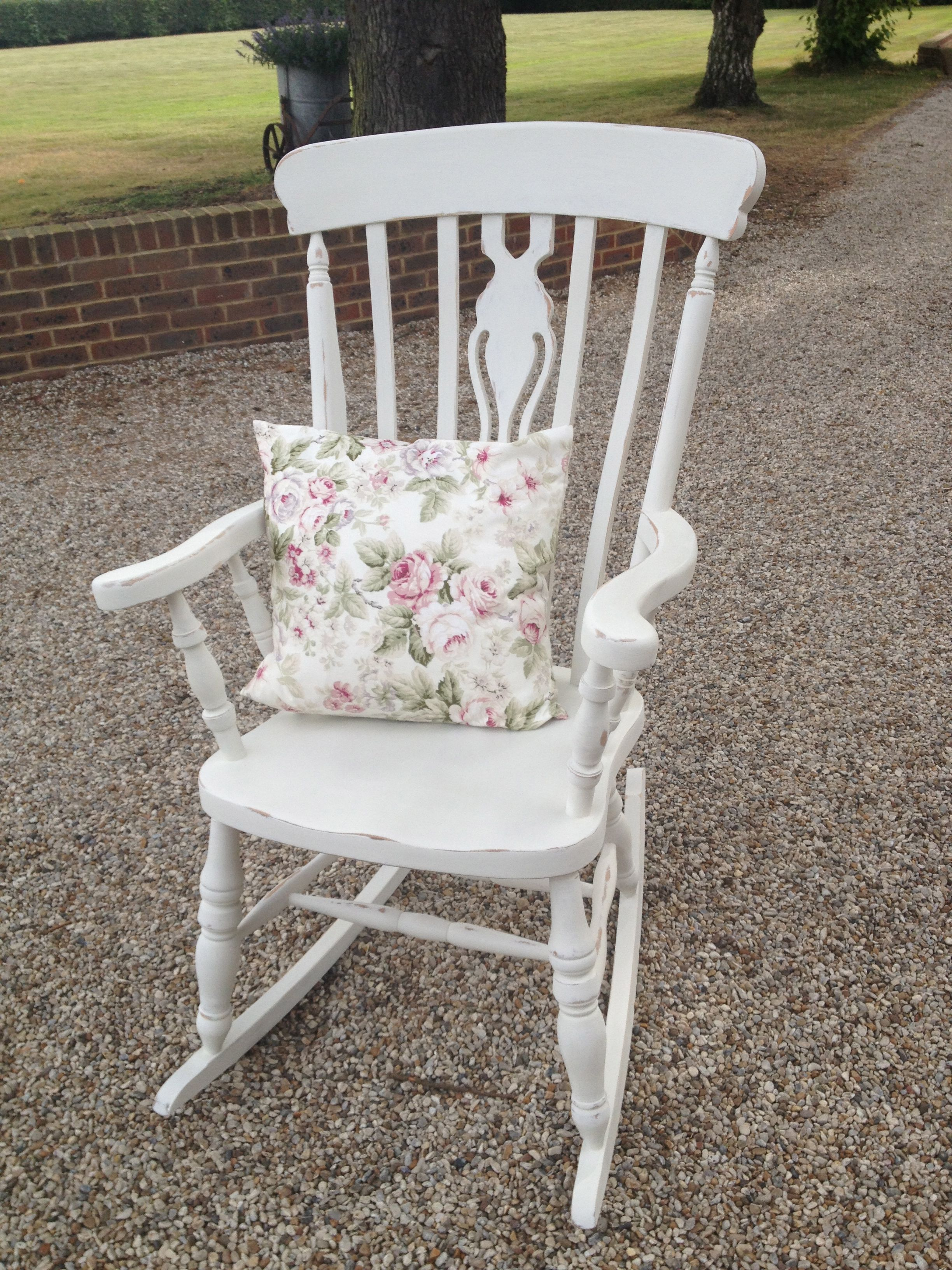 Shabby Chic rocking chair painted in Old White Shabby