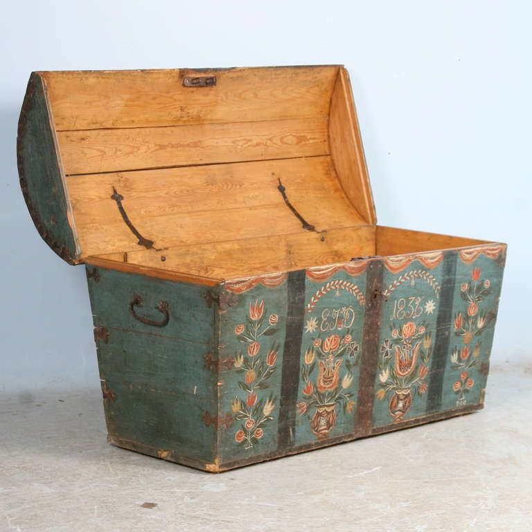 Antique Original Painted Swedish Trunk Dated 1836 Hand Wrought Iron Antiques Vintage Trunks