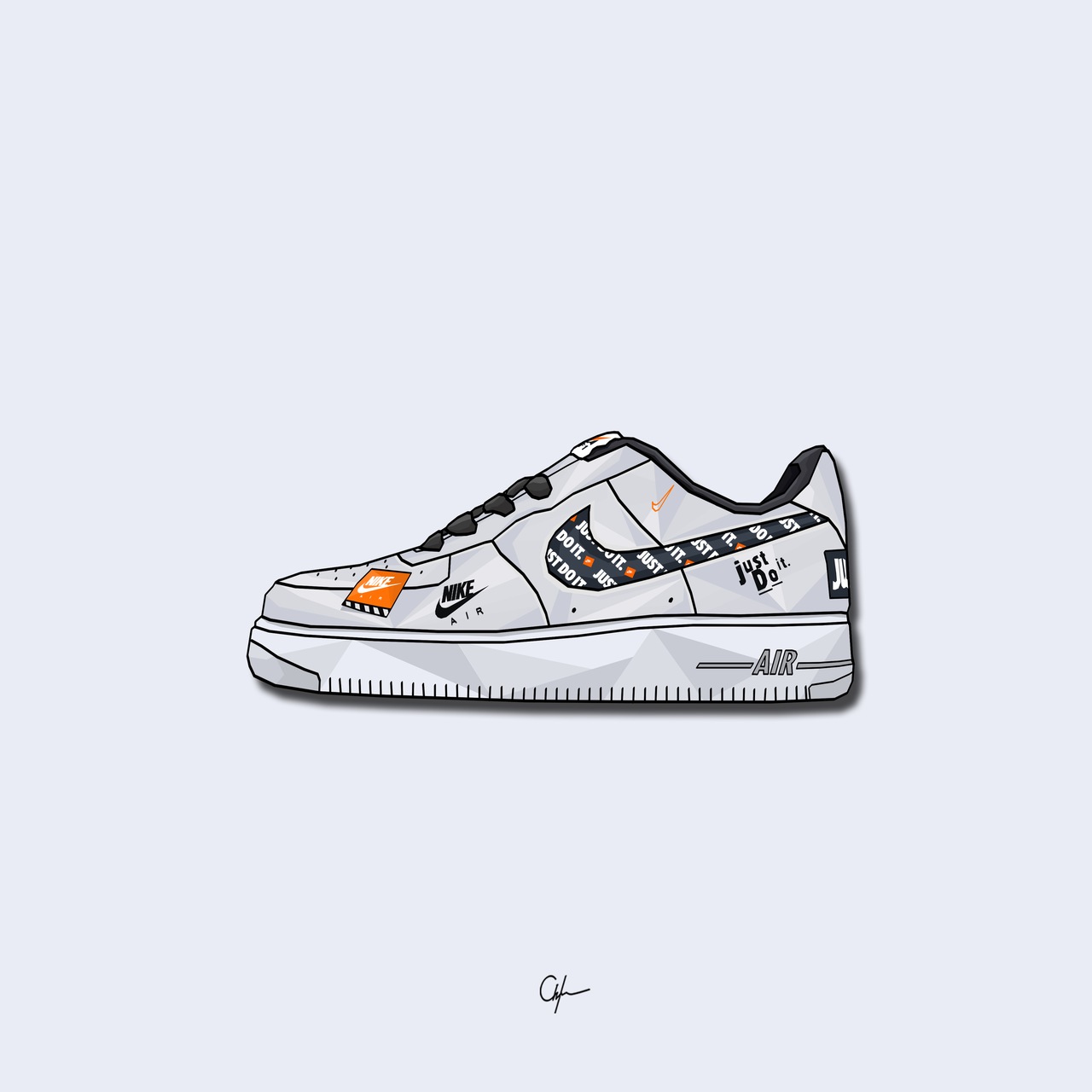 Nike Air Force 1 Just Do It White Edition Younmarx Nike Art Sneakers Illustration Sneakers Wallpaper