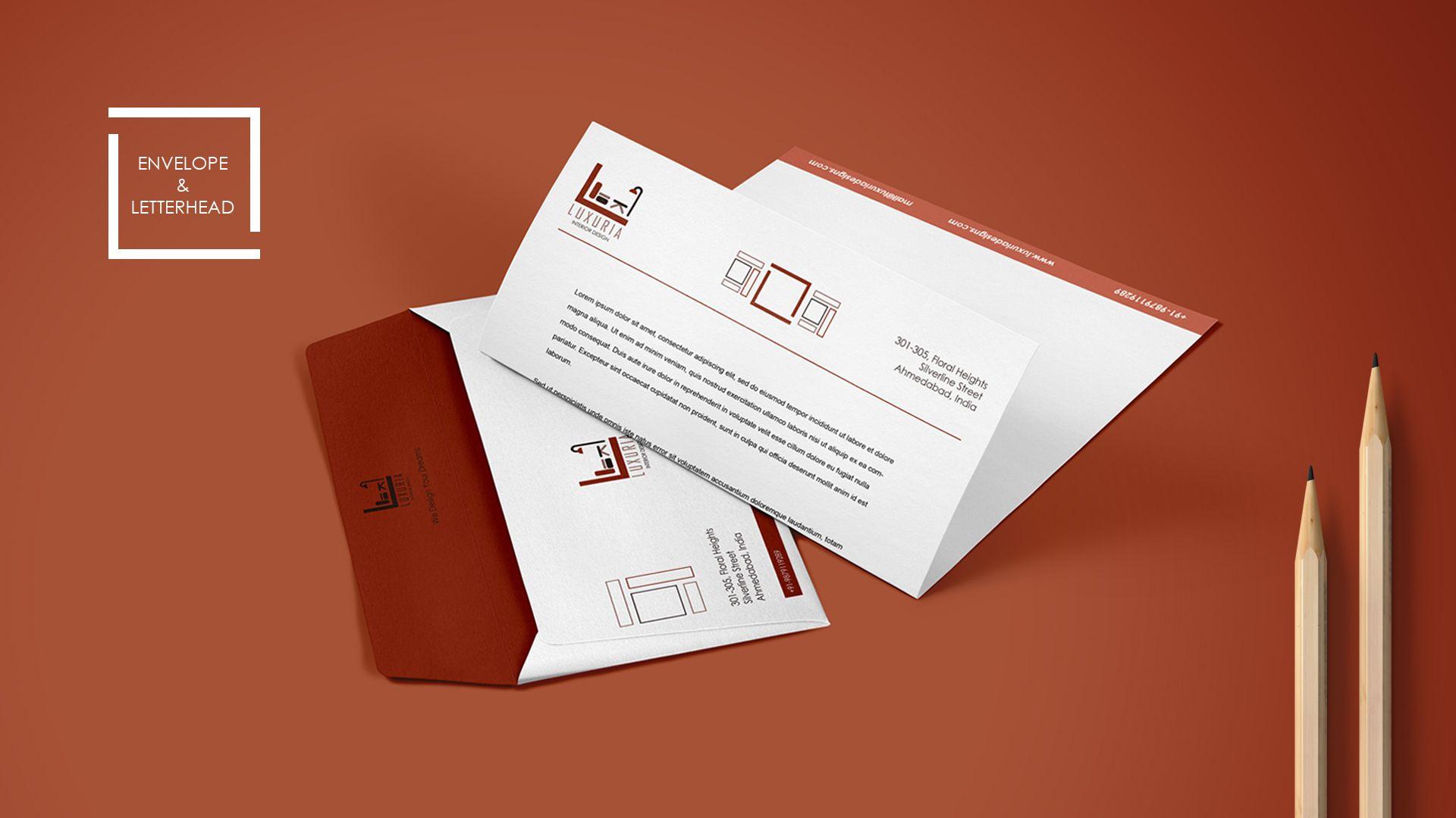 Luxuria Interior Design Branding Envelope Letterhead Turtlepalette Graphicsdesign Corporate Branding Pa Letterhead Template Letterhead Branding Design