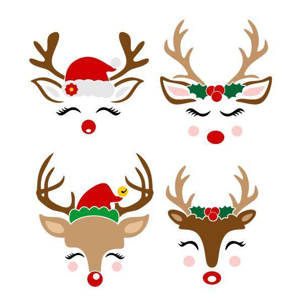 Christmas Reindeer Cuttable Design Cut File Vector Clipart