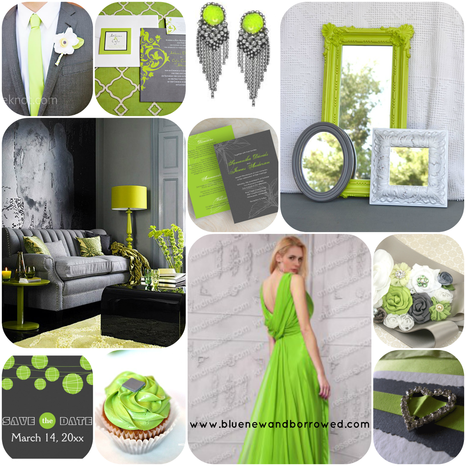 Lime and gray...just a possibility. I love this ...