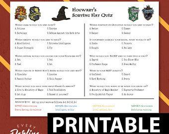 Harry Potter Sorting Hat Quiz Printable Quiz