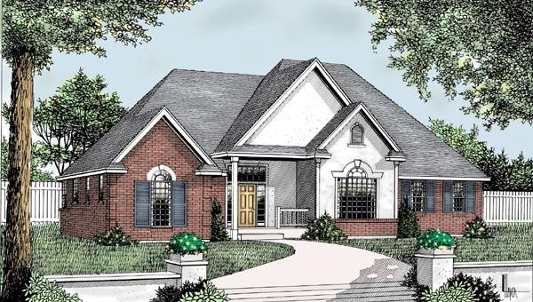 House Plan 91859 | Country European Traditional Plan with 2360 Sq. Ft., 3 Bedrooms, 3 Bathrooms, 3 Car Garage