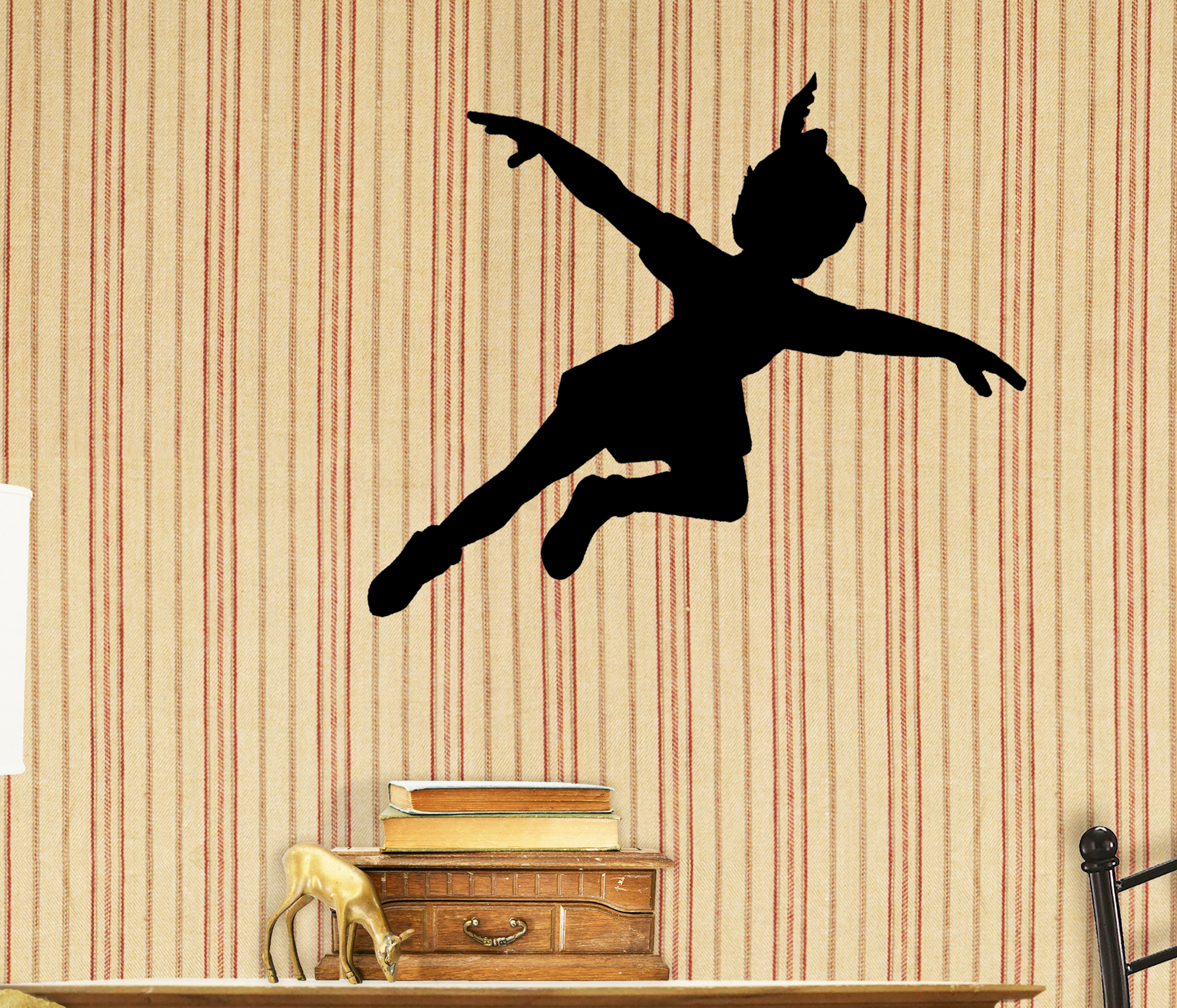 Removable Peter Pan Shadow Vinyl Wall Decal Silhouette Kids\' Bedroom ...
