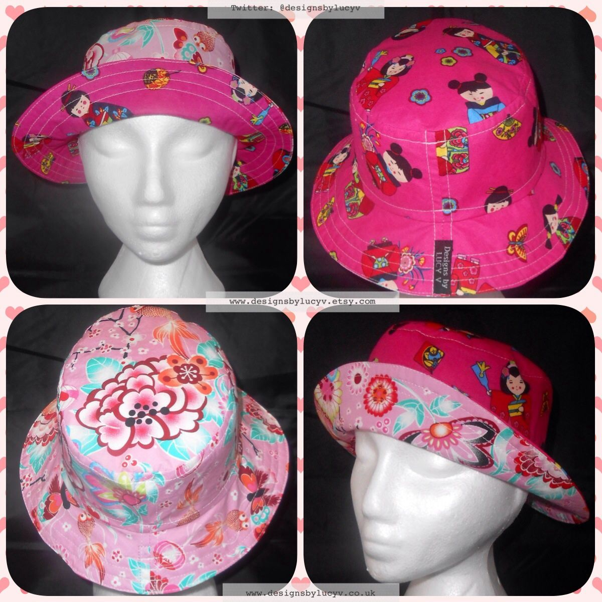 70178c6ec5f Reversible Japanese cherry blossoms and Kokeshi dolls bucket hat   sun hat  from www.designsbylucyv.co.uk