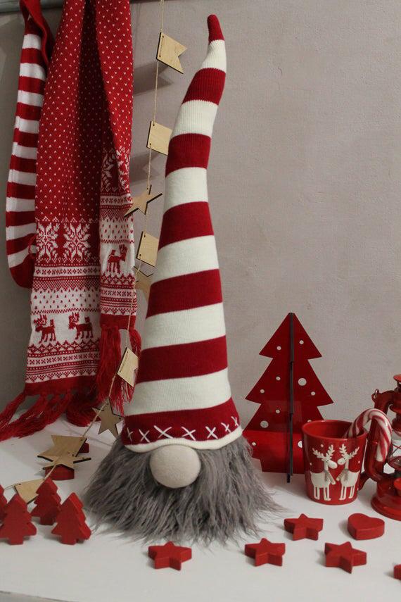 Grands gnomes de Noel Gnomes rouge blanc Gnomes norvégien gnome Nordique décorations de Noel Faites à la main Tomte gnomes suédois Nisse #christmasgnomes