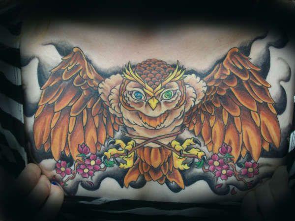 chest piece   owl chest piece tattoo