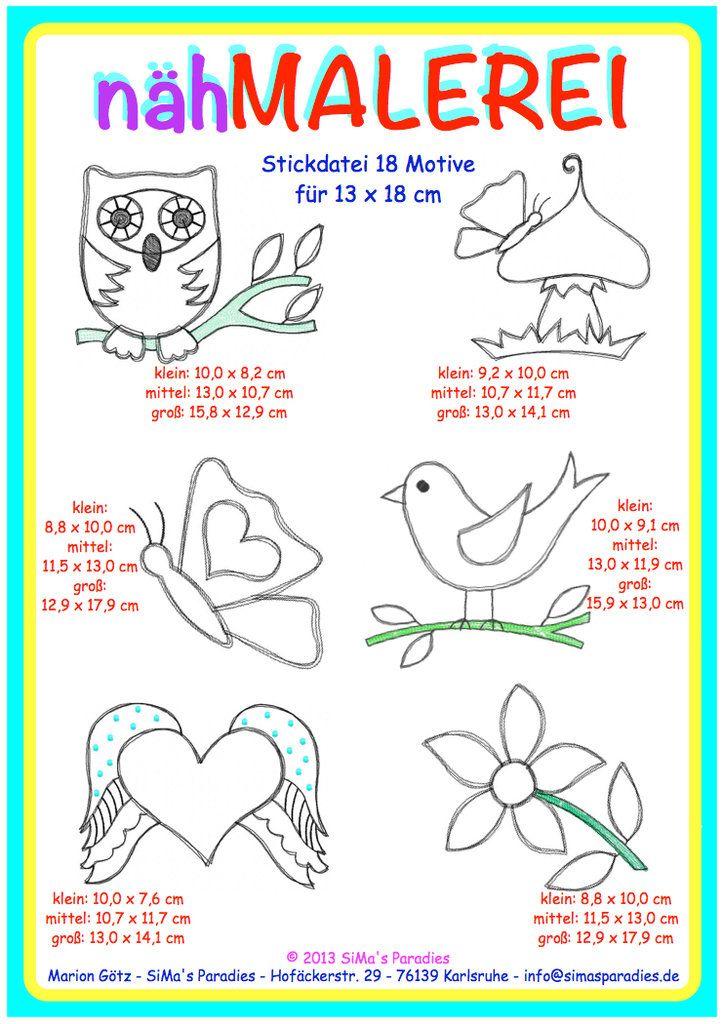 nähMALEREI - großer Rahmen | Stickdateien | Pinterest | Babies