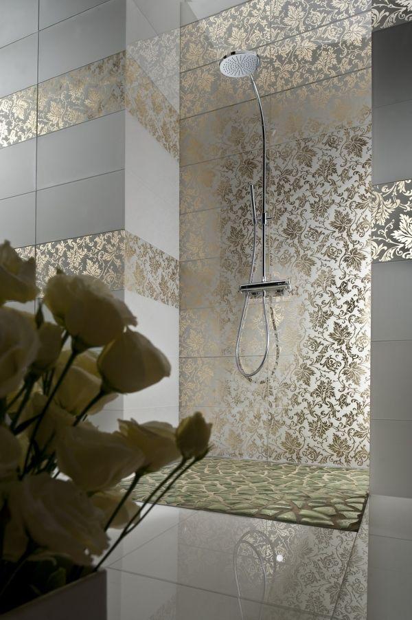 Wohnideen Badezimmer Wand fliesen-Duschkabine Flora Motive vergoldet ...