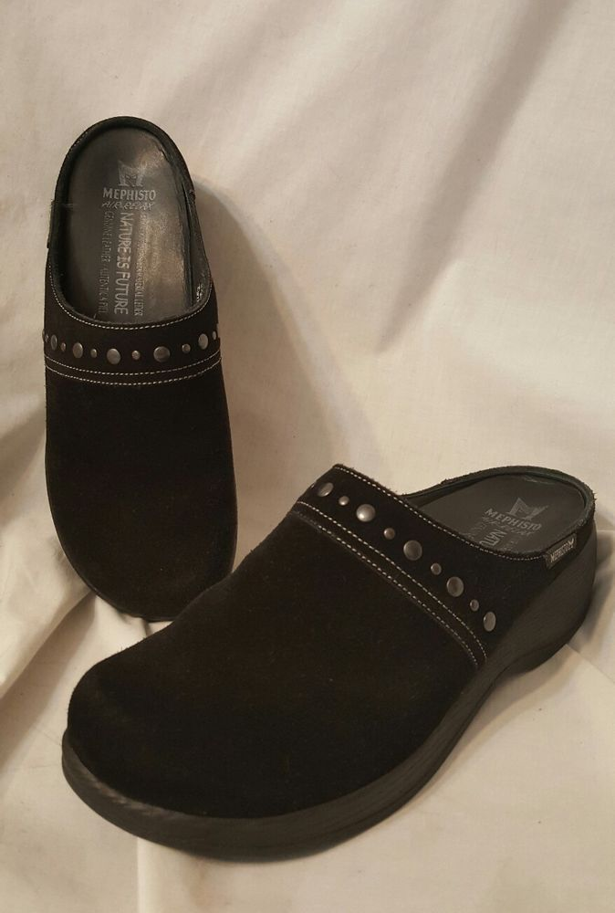 ec36f73e3694 Mephisto women s shoes sz 8 M Gene black suede wedge clogs air relax mules