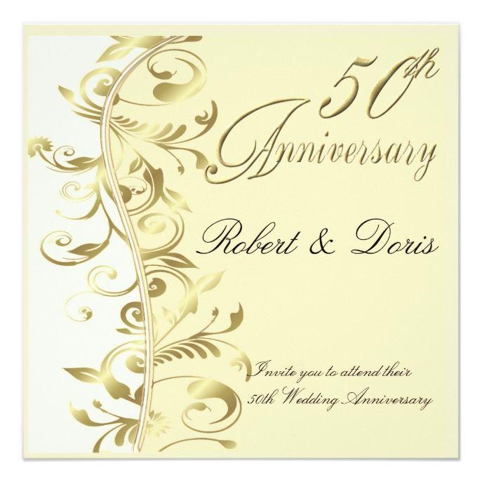 Golden 50th Wedding Anniversary Invitation Gold Zazzle Com 50th Wedding Anniversary Invitations Wedding Anniversary Invitations Anniversary Invitations