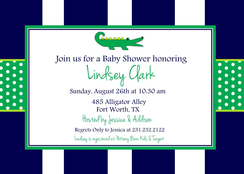 Preppy Alligator Baby Shower Printable Invitation, Personalized ...