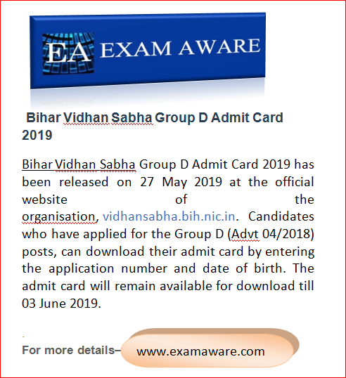 Bihar Vidhan Sabha Group D Admit Card 2019 Sabha How To Apply Educational News
