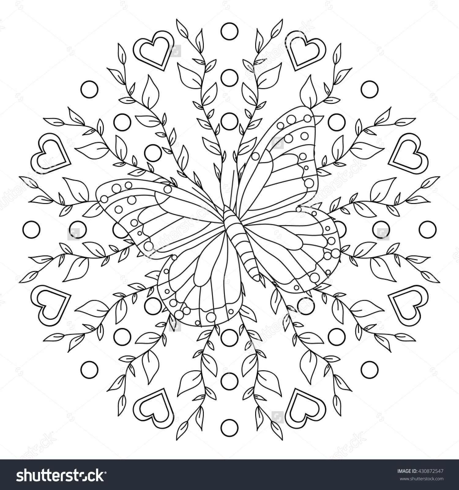 Butterfly+Mandala+Coloring+Pages | Coloring Page - Butterfly Mandala ...