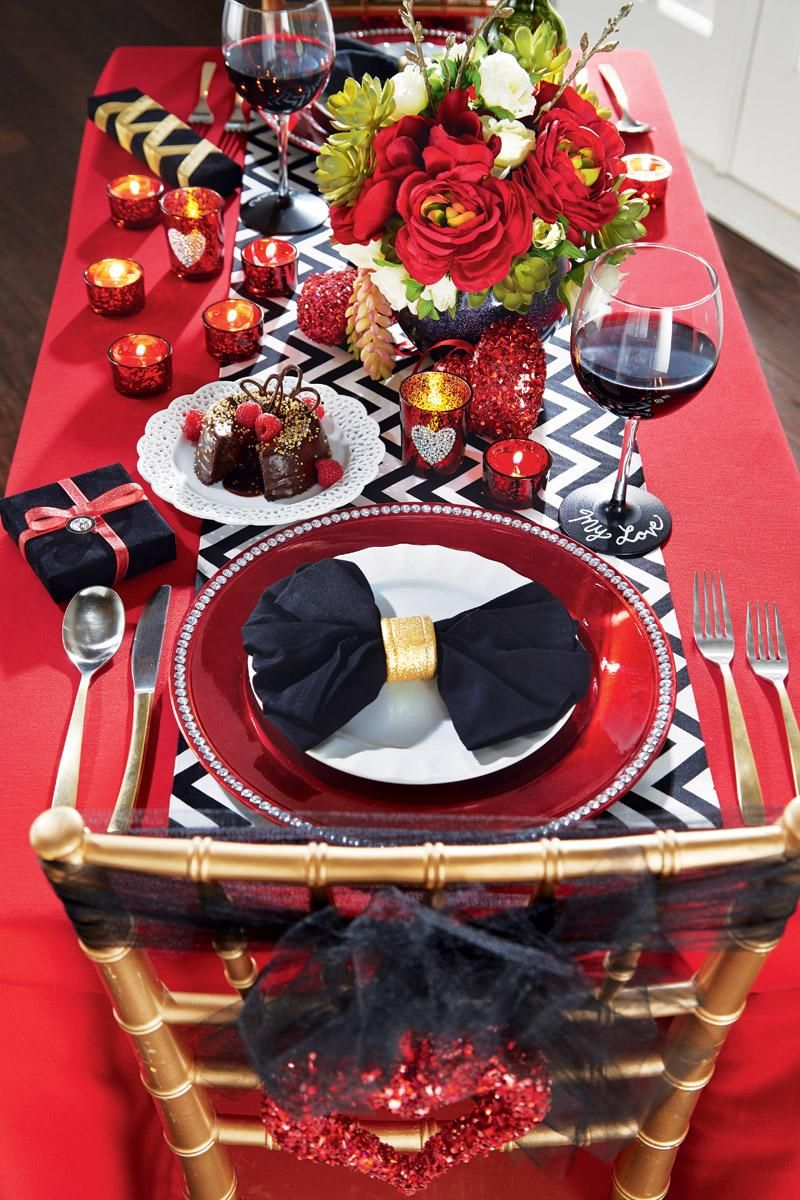 A Bold, Red Tablecloth And Black And White Accessories Make For The Perfect  Dinner Set Up For Valentineu0027s Day.