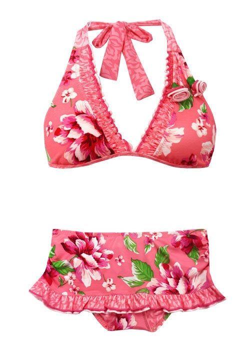 BETSEY JOHNSON tropical whip skirted bikini swimsuit ruffled