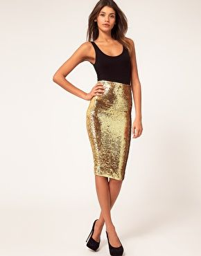 pencil sequins skirt in gold! I soo want for everyday wear lol ...