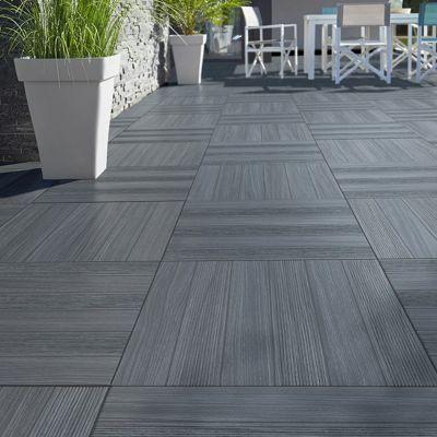Carrelage terrasse gris anthracite 50 x 50 cm Caillebotis (vendu au