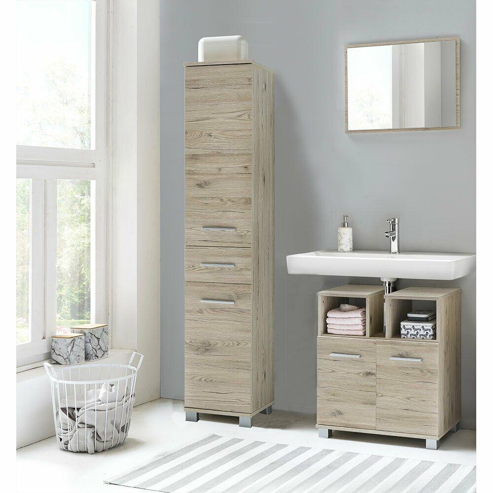 Bad Badezimmer Set Waschbeckenunterschrank Spiegel Hochschrank 3tlg Eiche Sand Ebay In 2020 Badezimmer Set Waschbeckenunterschrank Badezimmer Mobel