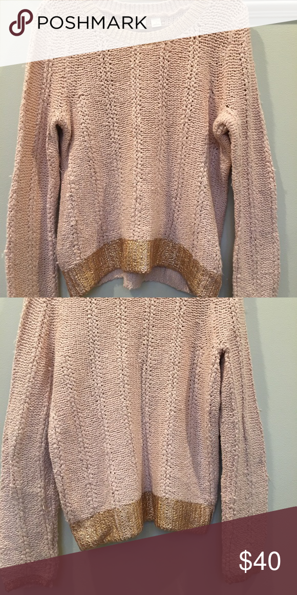 Light pink chunky sweater with gold detailing