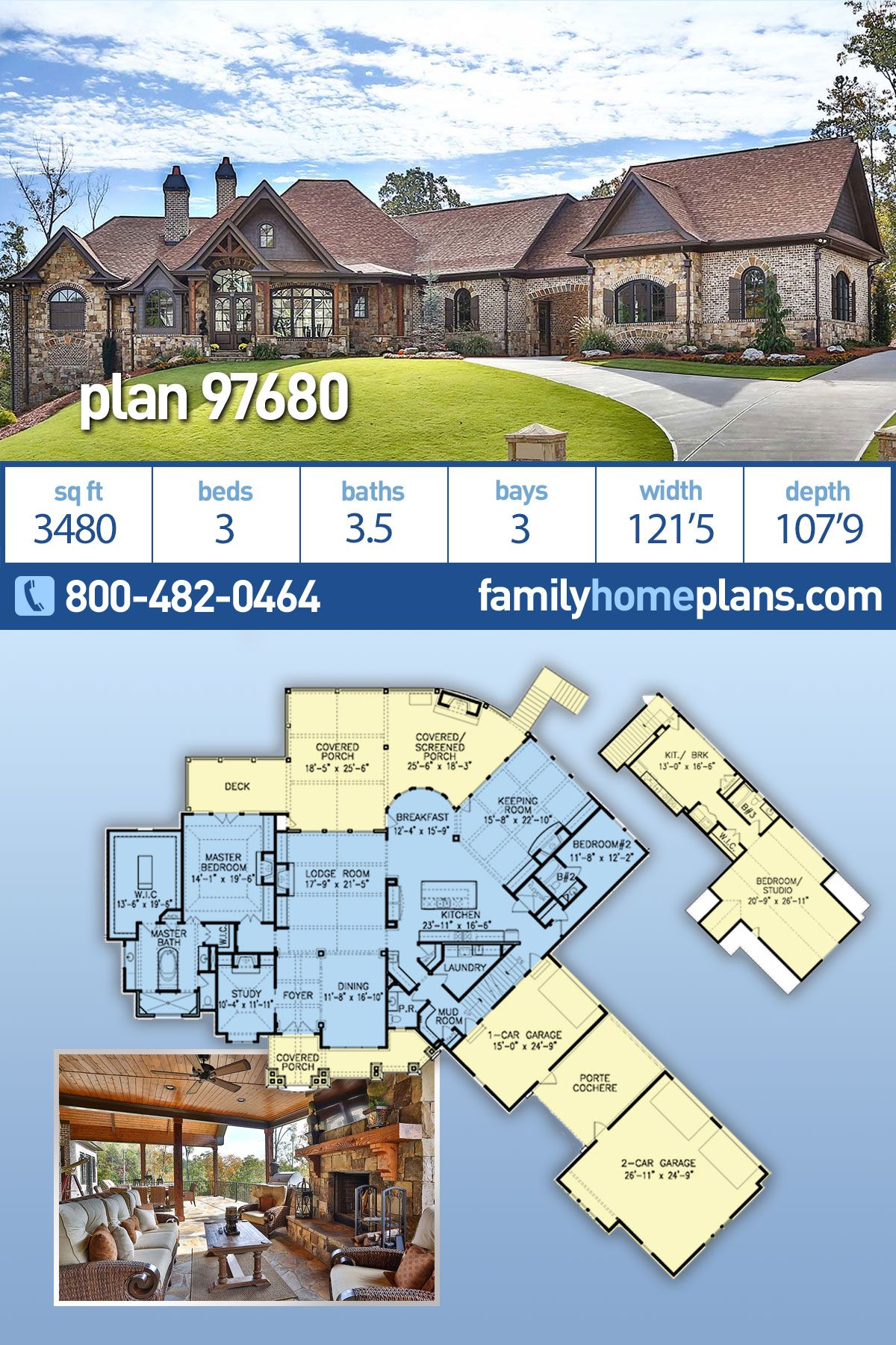 Tuscan Style House Plan 97680 With 3 Bed 4 Bath 3 Car Garage Luxury Craftsman House Plans Family House Plans Tuscan Style