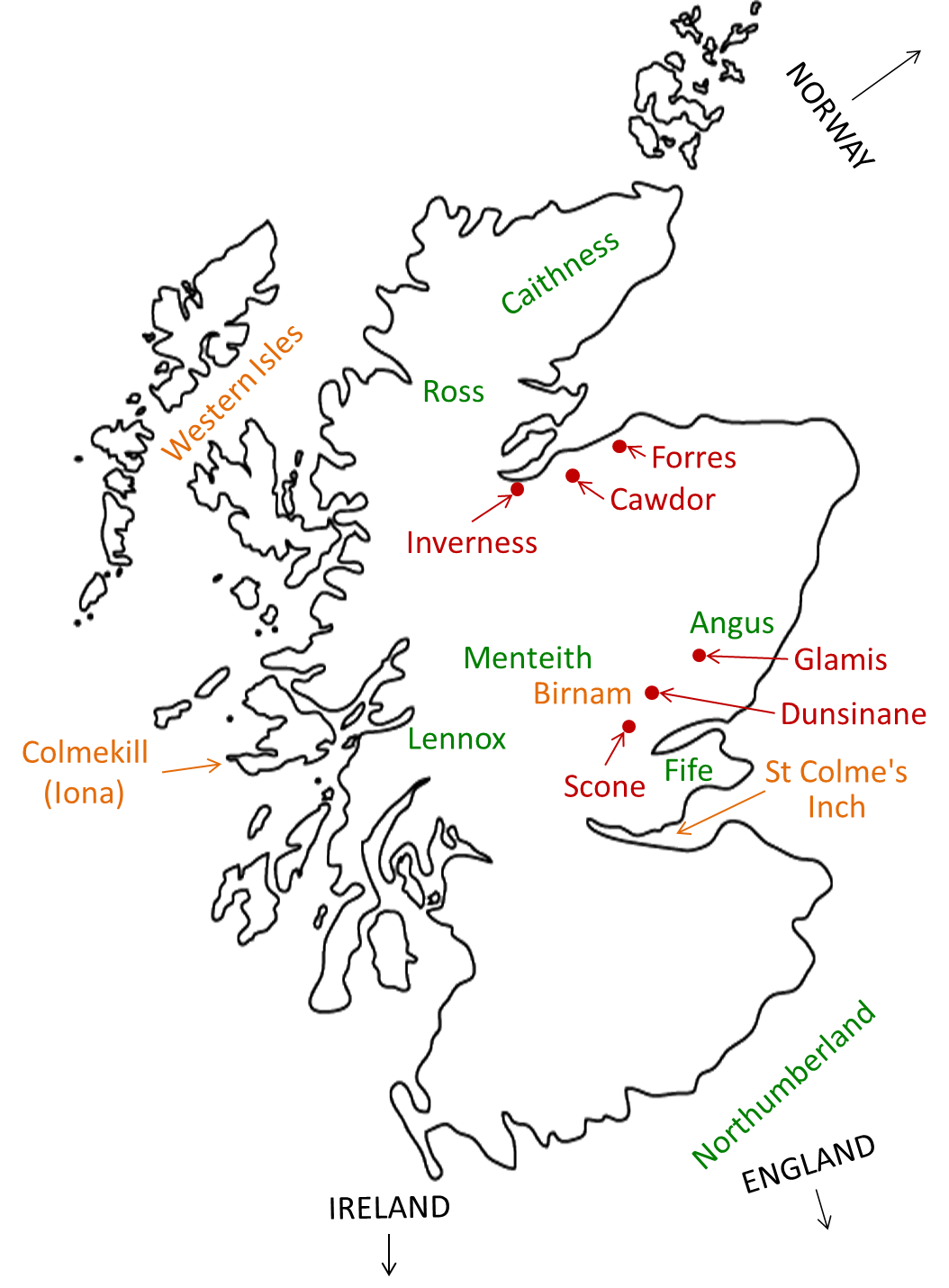 Map Of Macbeth Setting