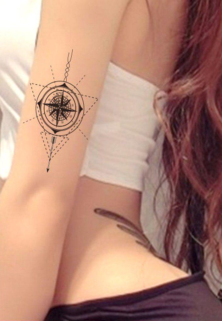Unique Compass Arm Sleeve Tattoo Ideas for Women - www.MyBodiArt.com #tattoos