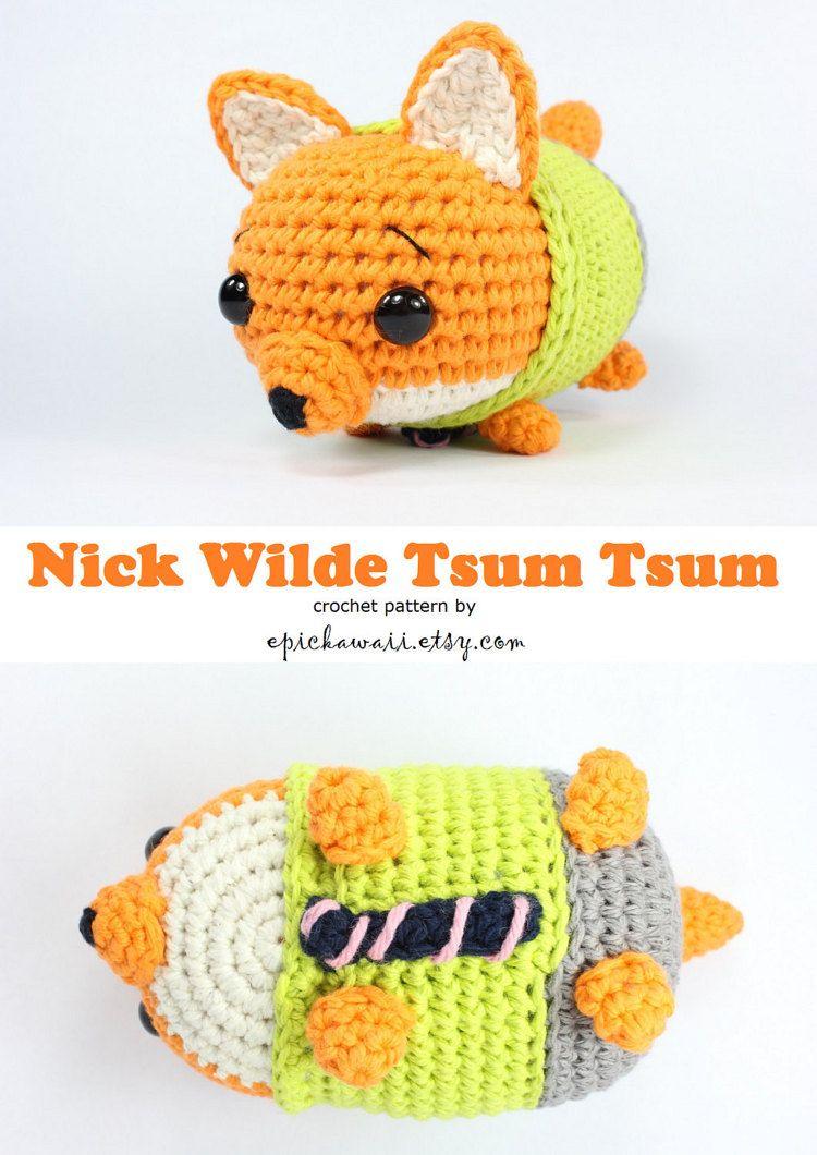 PATTERN: Nick Wilde Zootopia Tsum Tsum Crochet Amigurumi Doll | Nick ...