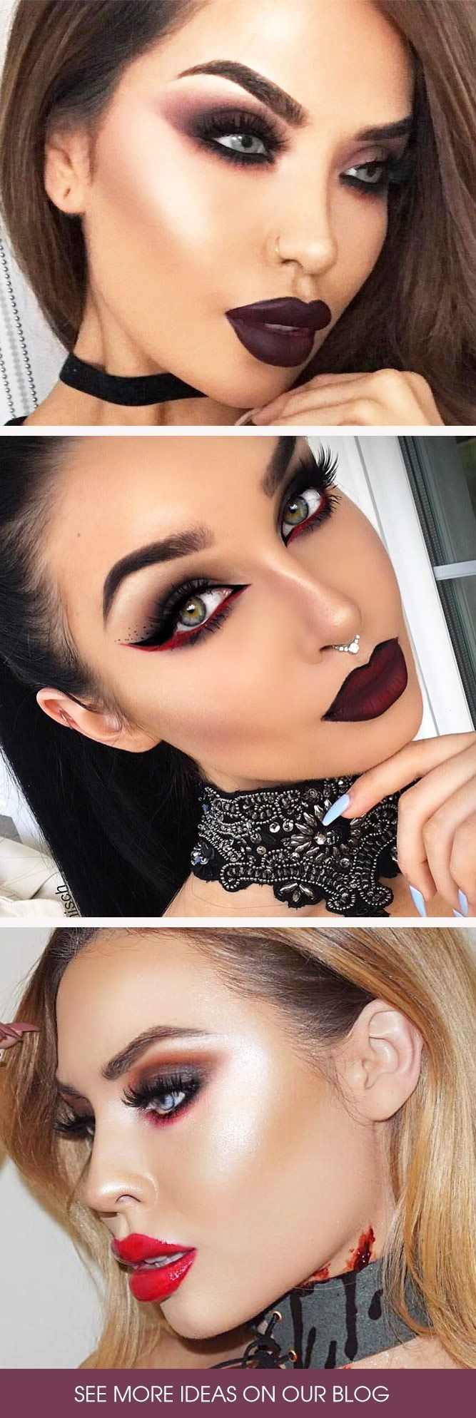 Best Vampire Makeup Ideas ★ When it comes to Halloween, vampire makeup is on everyone's lips. Let's make your scary look the brightest: our creepy, yet glamorous ideas are the perfect inspiration for women who want to rock gothic looks! #vampiremakeup #vampre #halloween #halloweenmakeup #makeup #makeupideas #scarymakeup