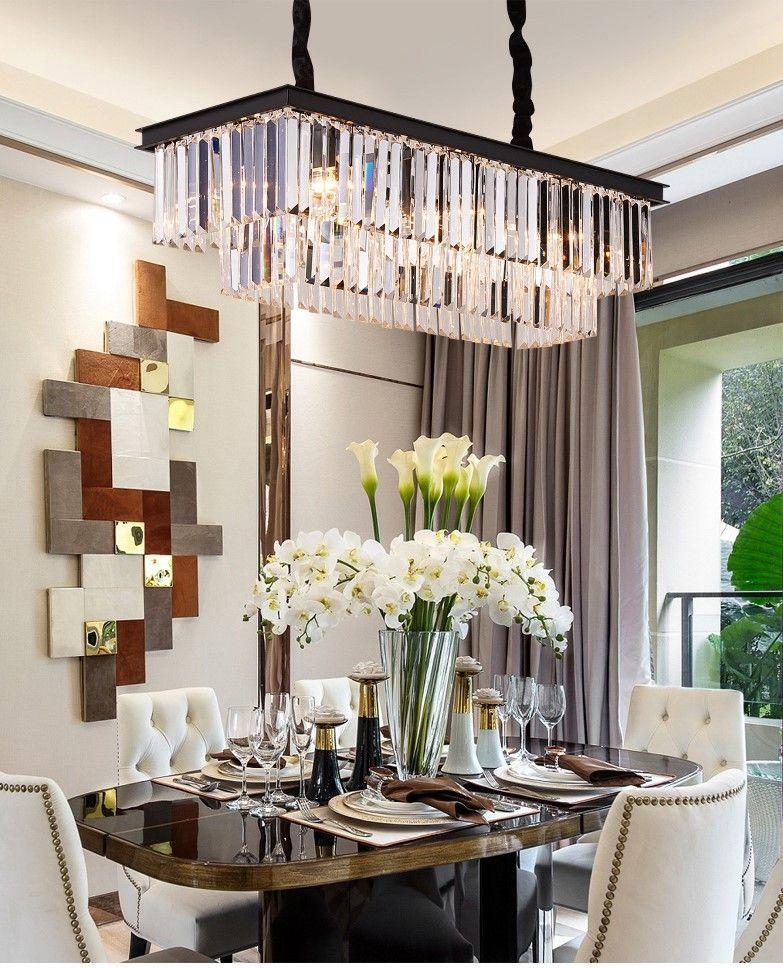 Vintage Clear Crystal Rectangular Chandelier Dining Room In 2020 Rectangular Chandelier Vintage Chandelier Chandelier